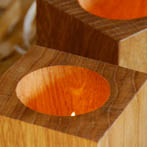 BGO Tealight holders in seasoned oak. £15 a pair